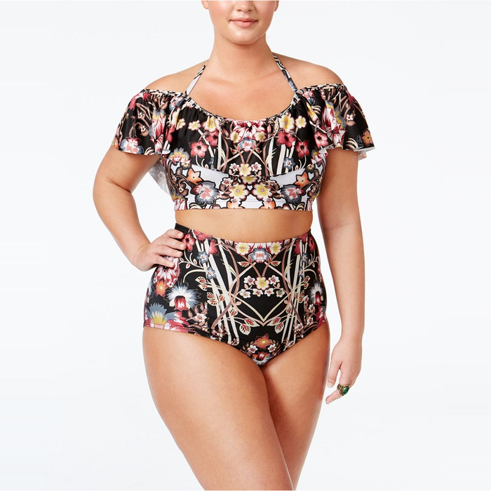 Best Plus Size Swimsuits - Becca ETC Plus Size Havana Off the Shoulder Floral Bikini Top and Bottom