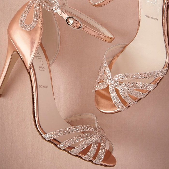 Best Wedding Heels - BHLDN Rose Gold Glittered Heels