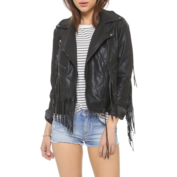 Best Moto Jackets - Blank Denim Vegan Leather Fringe Jacket