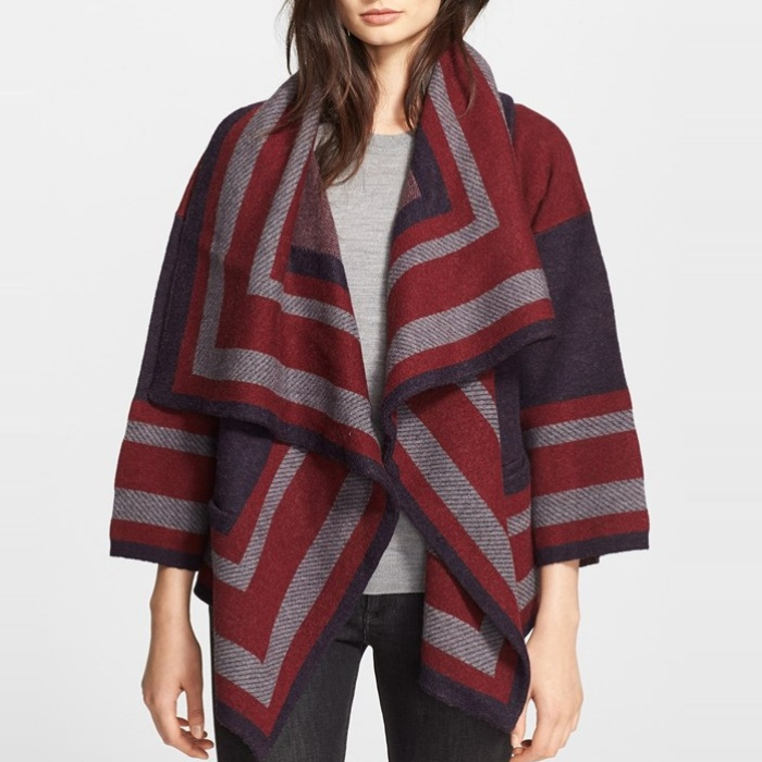 Best Fall Capes - Burberry Brit Wool Blend Blanket Wrap