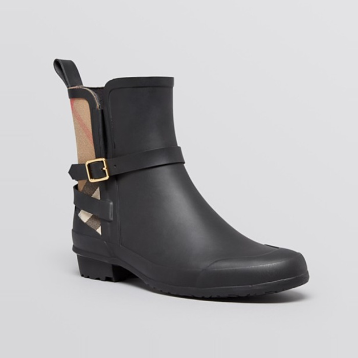 Best Rain Booties - Burberry Moto Rain Booties - Riddlestone Check
