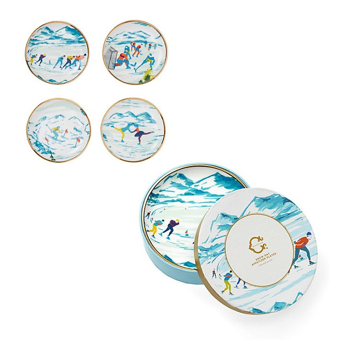 Best Presents for the Nester - C. Wonder Snow Day Porcelain Coasters Set and Appetizer Plate Set