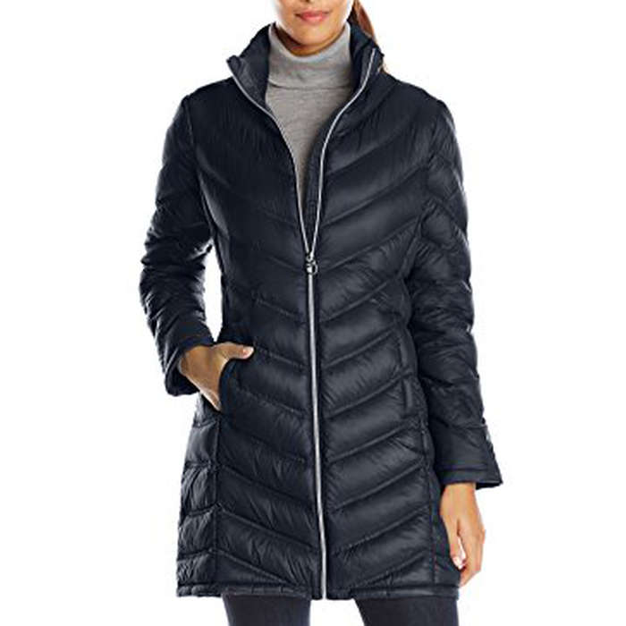 Best Puffer Jackets - Calvin Klein Women's Chevron-Quilted Packable Down Coat
