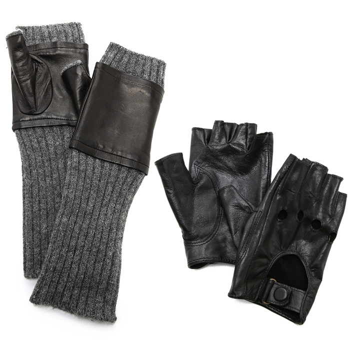 Best Hats & Gloves - Carolina Amato Fingerless Knit & Leather Gloves and Moto Gloves
