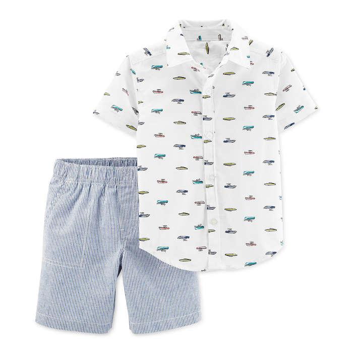 965de279c Carters Toddler Boys 2-Pc. Printed Shirt & Striped Shorts Cotton Set
