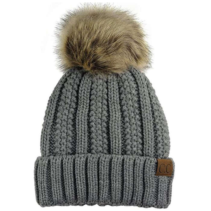 Best Gifts Under $50 on Amazon - C.C Cable Knit Faux Fur Pom Beanie