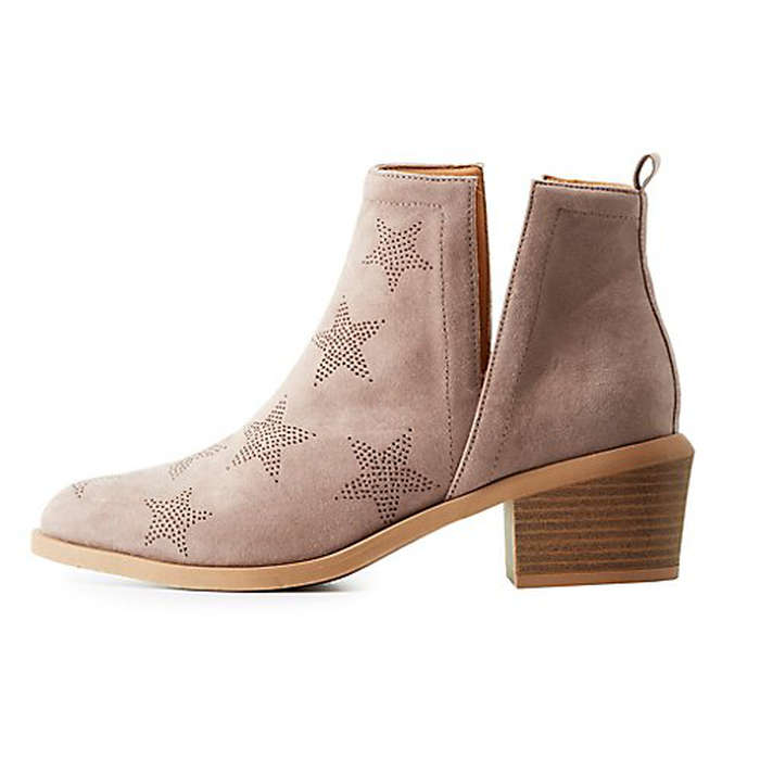 Best Vegan Leather Booties - Charlotte Russe Perforated Star Slit Booties