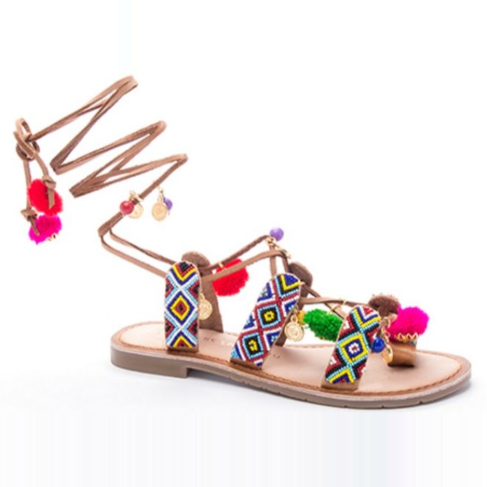 Best Pom pom Sandals - Chinese Laundry Posh Beaded Flat Sandal