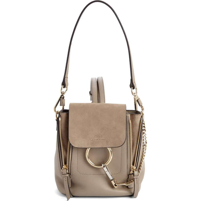 008eae258448 Chloé Mini Faye Leather   Suede Backpack