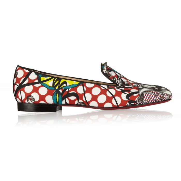 Best Novelty Loafers and Flats - Christian Louboutin Sakouette Printed Cotton-Sateen Loafers