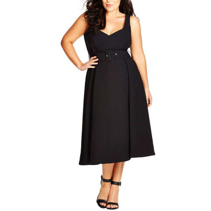 Best Plus Size Party Dresses - City Chic Belted Sweetheart Neck Tea Length Dress