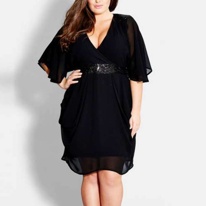 Best Plus Size Party Dresses - City Chic Sequin Wrap Front Dress