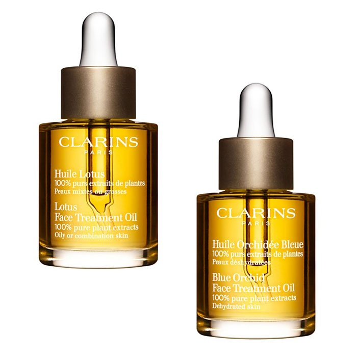 Best Anti Aging Face Oils - Clarins Lotus Face Treatment Oil & Blue Orchid Face Treatment Oil