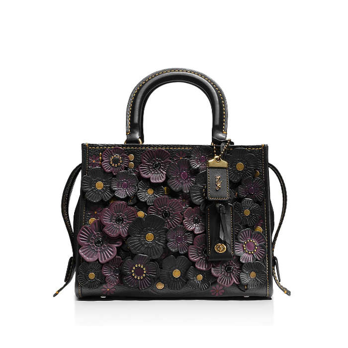 Best Embellished Handbags - Coach 1941 Rogue 25 in Glovetanned Pebble Leather with Tea Roses