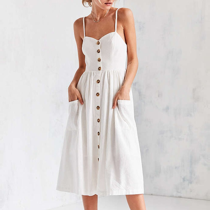 Best Spring Dresses Under $100 - Cooperative Emilia Linen Button-Down Midi Dress