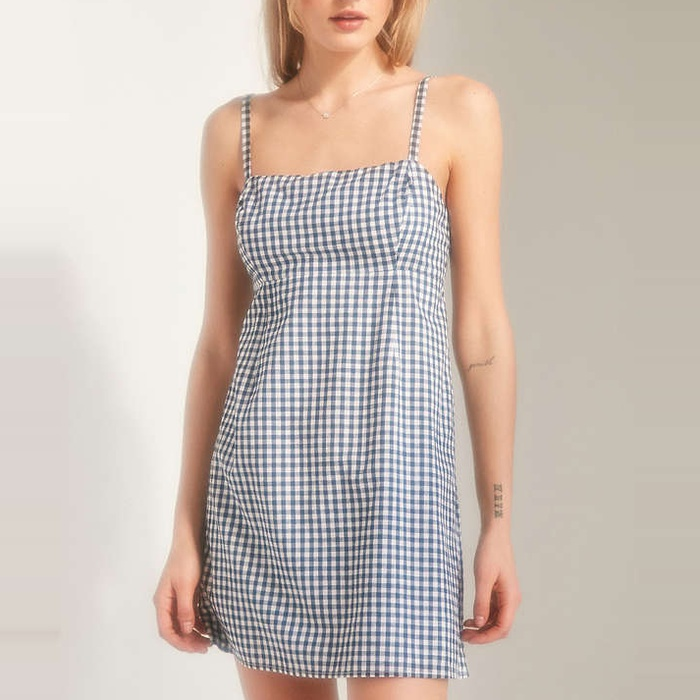 Best Mini Dresses - Cooperative Straight Neck Gingham Dress