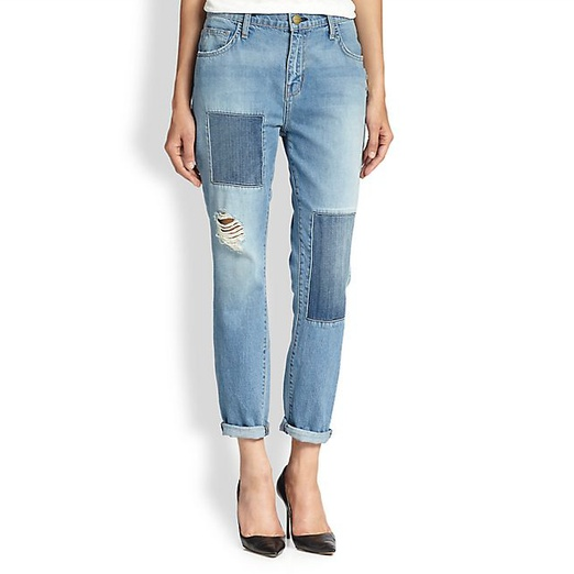 Best Ripped Boyfriend Jeans - Current/Elliott The Fling Patchwork Boyfriend Jean