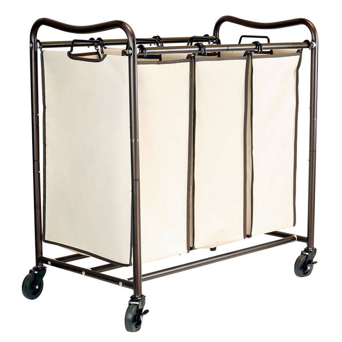 Best Closet Organizers - DecoBros Heavy-Duty 3-Bag Laundry Sorter Cart