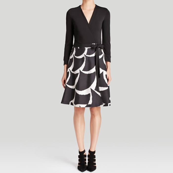 Best Black Cocktail Dresses for Fall - Diane von Furstenberg Amelia Printed-Skirt Wrap Dress