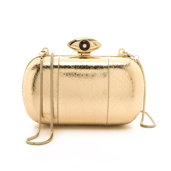 Best The Ten Best Fall Party Pumps and Clutches - Diane von Furstenberg Metallic Snake Evil Eye Miniaudiere