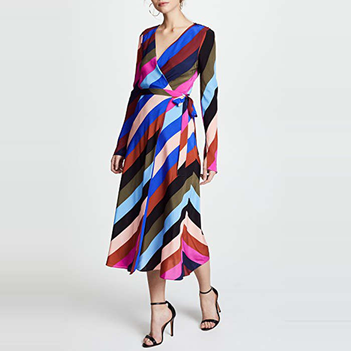 Best Rainbow Fashion Pieces - Diane Von Furstenberg Midi Wrap Dress in Carson Stripe