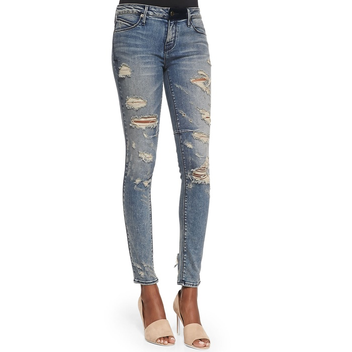 Best Winter Jeans - RtA Denim Distressed Skinny Ankle Jeans, Destroyed Soil