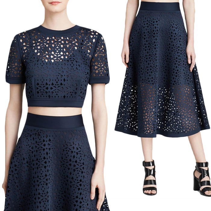 Best Perforated & Laser Cut Bests - DKNY Laser-Cut Full Midi Skirt and Crop Top