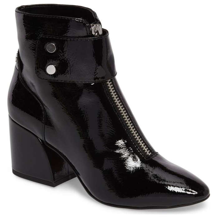 Best Vegan Leather Booties - Dolce Vita Women's Varra Patent Leather Zip Block Heel Booties