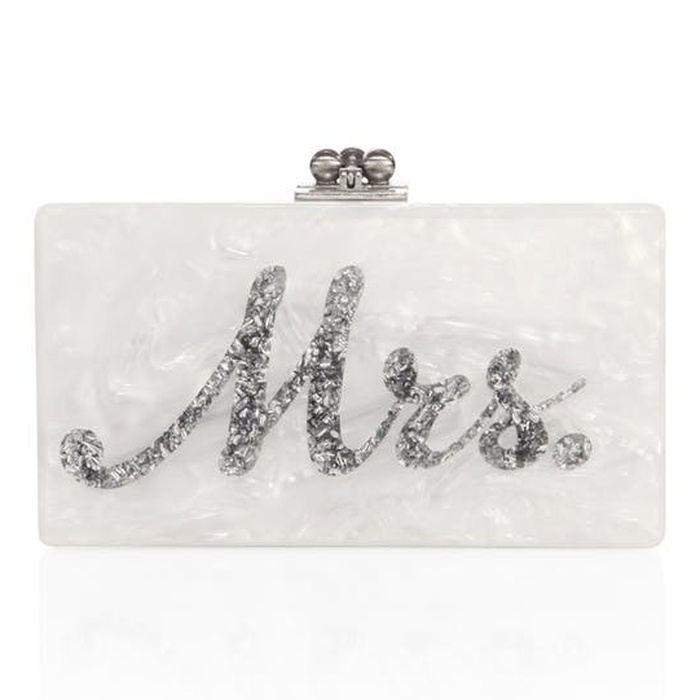Best Bridal Handbags - Edie Parker Jean Mrs. Acrylic Clutch