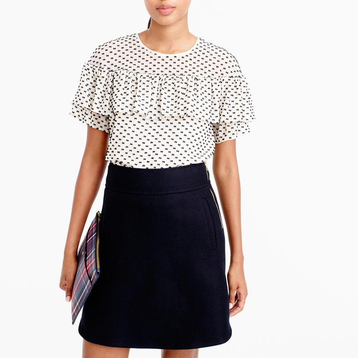 Best Ruffle Tops - J.Crew Edie Top in Textured Clip Dot