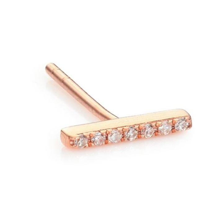 Best Diamond Jewelry Under $500 - EF Collection Diamond & 14K Rose Gold Single Bar Stud Earring