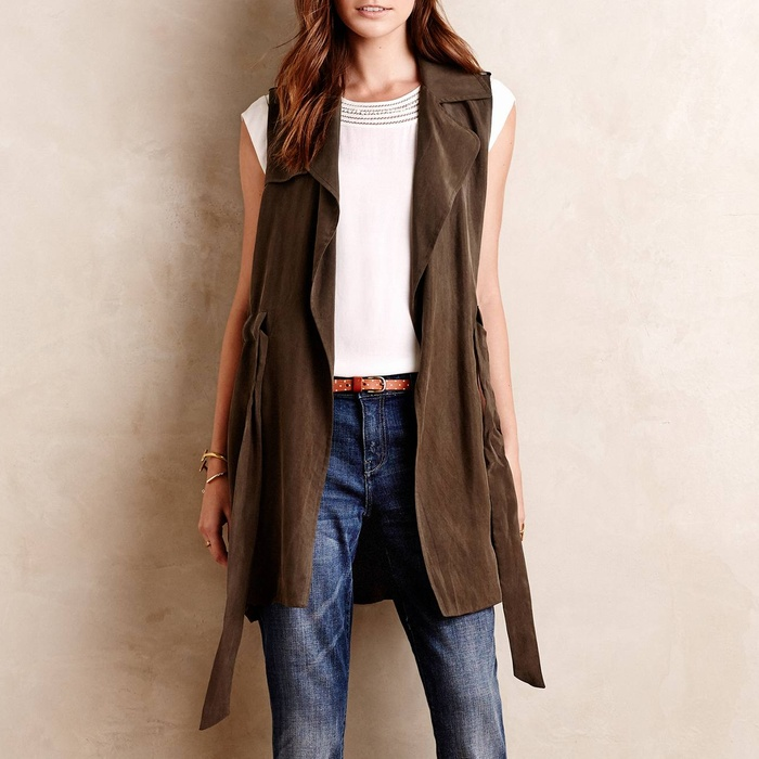 Best Long Vests - Elevenes Draped Trench Vest