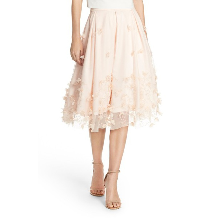 Best Flirty Skirts - Eliza J Floral Appliqué Ball Skirt
