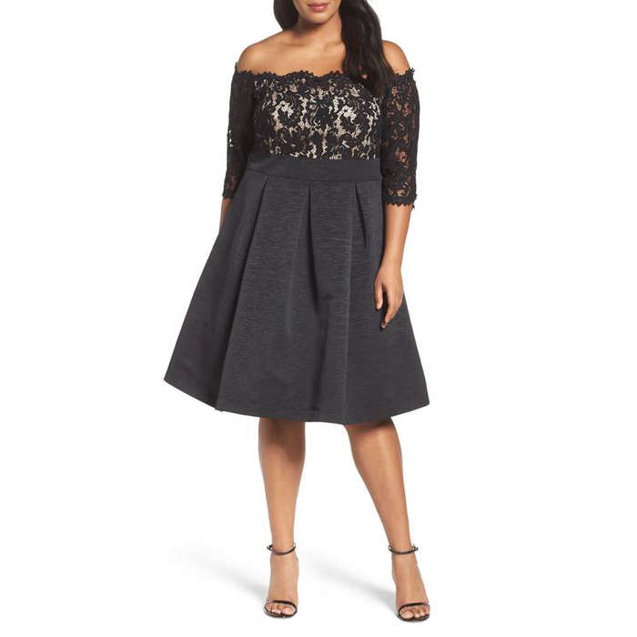 Best Plus Size Party Dresses - Eliza J Off the Shoulder A-Line Dress