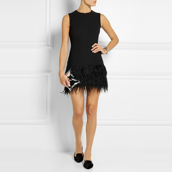 Best Black Cocktail Dresses for Fall - Elizabeth and James Feathered-Hem Body-Con Dress