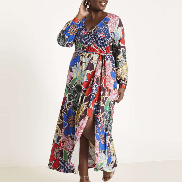 Eloquii Printed Wrap Maxi Dress