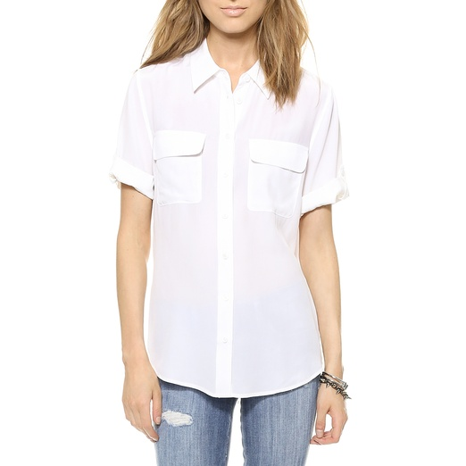 Best Summer White Bests - Equipment Short Sleeve Slim Signature Blouse