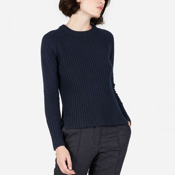 Best Women's Cashmere Sweaters Under $200 - Everlane The Ribbed Wool-Cashmere Crew