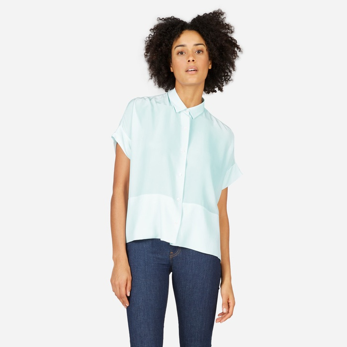 Best Summer Tops With Sleeves - Everlane The Silk Square Shirt
