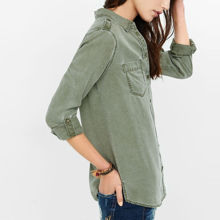 Best Boyfriend Button-Down Shirts - Express Silky Soft Twill Boyfriend Shirt
