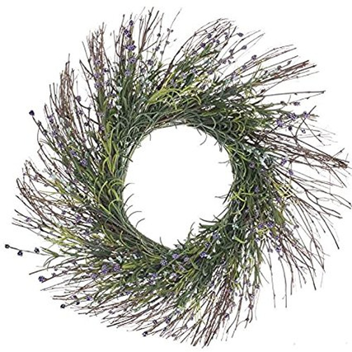 Best Spring Home Accents Under $100 - Factory Direct Craft Artificial Grass and Lavender Wildflower Twig Wreath