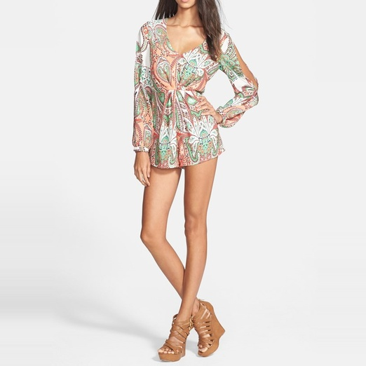 Best Rompers under $100 - Filtre Print Split Long Sleeve Romper