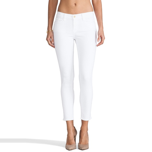 Best White Skinny Jeans - Frame Denim Le Color Crop Jeans in Blanc