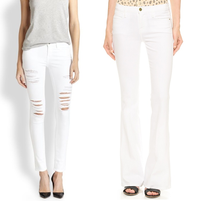 Best Your Guide To This Summer's Best White Jeans - Frame Le High Rise Flare Jeans in Blanc & Le Color Rip Skinny Jeans
