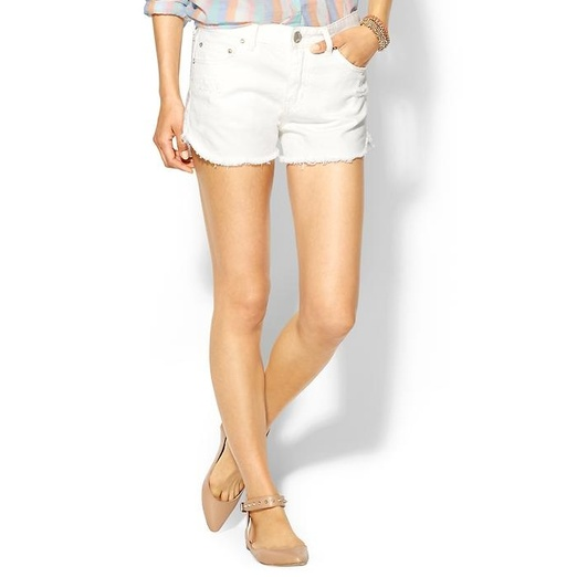 Best White Denim Shorts - Free People Dolphin Hem Denim Cut Off Shorts