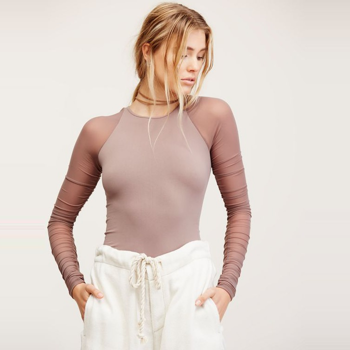 Best Sheer Layering Tops - Free People Scrunch Sleeve Seamless