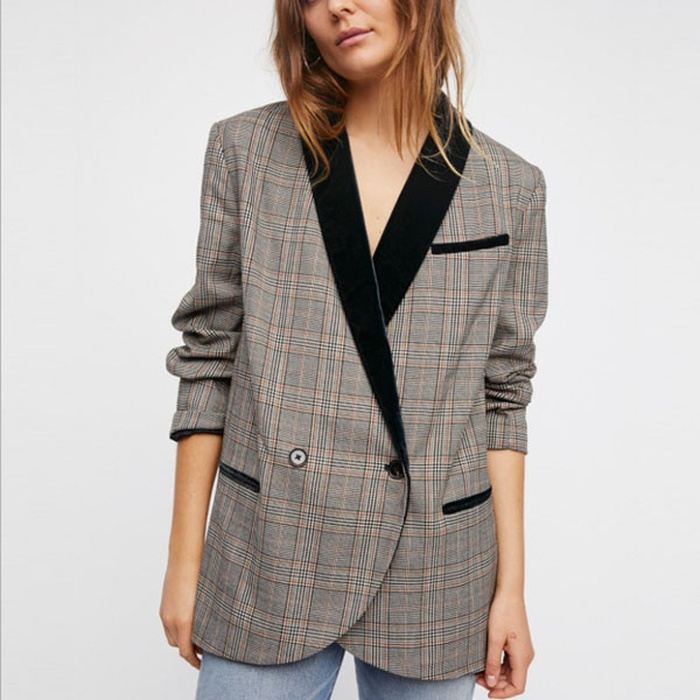 Best Women's Fashion Blazers - Free People Velvet Trim Blazer
