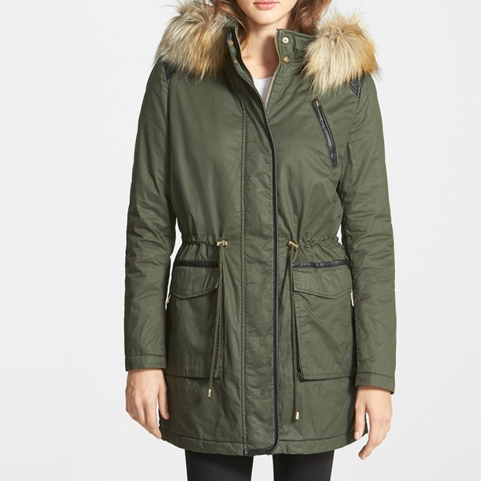 Best Parkas Under $500 - French Connection Faux Fur & Leather Trim Anorak Parka