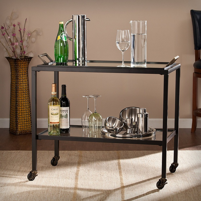 Best Bar Carts Under $200 - FurnitureMaxx Brittany Black Iron Bar Cart
