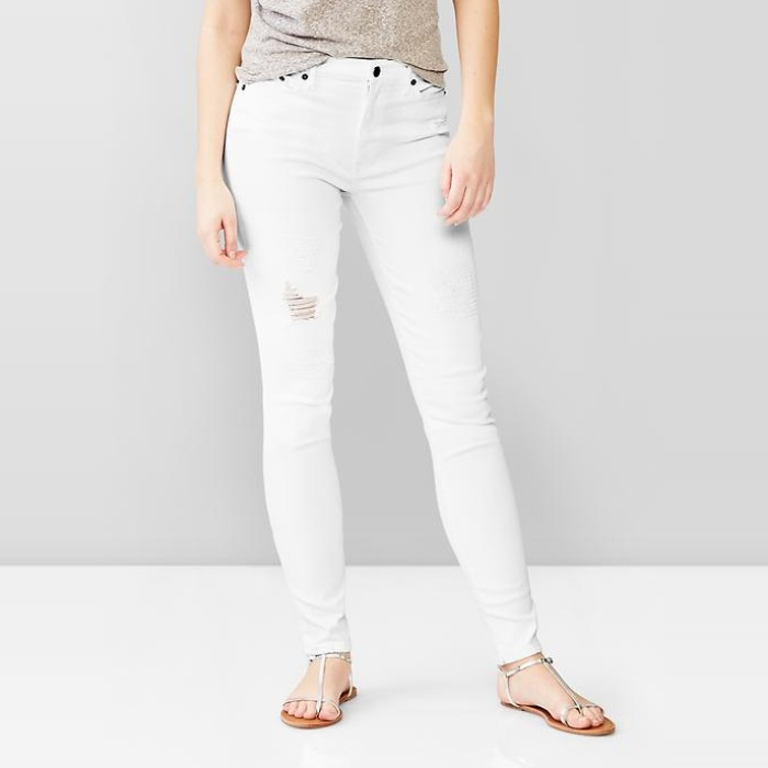Best Your Guide To This Summer's Best White Jeans - Gap 1969 Destructed Resolution True Skinny High-Rise Jeans in White
